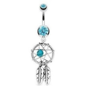 Azzire 316L Surgical Steel Cubic Zirconia Aqua Dream Catcher Net with Bead & Feathers Fancy Navel Belly Bar