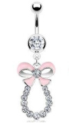 Belly Bars - Pierced & Modified - Body Jewellery - Bow Ribbon Crystal Loop Navel Bar - White