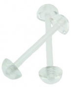 Jules Body Jewellery-Body Jewellery-Set Of Two Clear Tongue Retainers-16mm Size