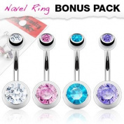Belly Bars - Pierced & Modified - Body Jewellery - 4 x Double Gem Navel Bars Value Pack