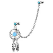 Aqua Dreamcatcher Feather earring to cartilage tragus upper ear