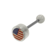 Body Jewellery - US Flag Logo Barbell Tongue Ring