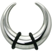 "1.6mm Surgical Steel Buffalo Ear Taper with 2 ""O"" Rings By Pegasus Body Jewellery"
