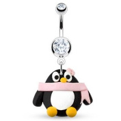 Azzire 316L Stainless Steel with Clear Cubic Zirconia Gem Stones Navel Belly Bar with a Penguin in a Scarf Dangle