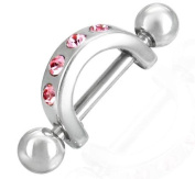 Small Nipple Shield with Pink Cubic Zirconia Stones - Silver Stainless Steel - Supplied in Gift Pouch (Inside diameter