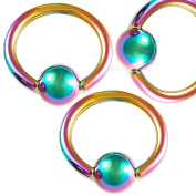 3Pcs 16g 16 gauge 1.2mm 5/16 8mm Rainbow Anodized Steel eyebrow lip ear tragus ball closure ring bcr captive bead bar AINJ Pierced Body Jewellery