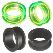 2 Pairs of 3/4 inch 20mm Acrylic screw flesh tunnel plugs Ear ring stretchers Expanders JAQT Body Piercing Jewellery