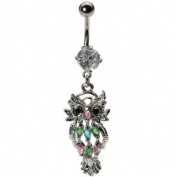 Beautiful Crystal Dangle Owl Belly Navel Bar