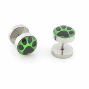 tumundo 2 Fakeplugs Fake Plug Tunnel Earring Piercing Animal Footprint Bears Paw 10mm Steel Cheater Studs Green Black