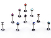 Pack of 10 Labret Lip Bar Ring Surgical Steel 316L Body Piercing with Coloured Jewels