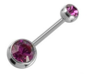 Steel Navel Ball Crystal Purple & Top Ball - Size 10mm