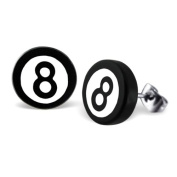 Black & White Magic 8 Ball Fake Ear Plug Style Stainless Steel Stud Earrings - Comes with FREE Gift Pouch