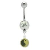 Body Jewellery - Yin Yang Jewelled Navel Ring