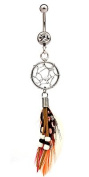 Dream catcher dangle belly bar by BodyTrend © - We use genuine turqoise stones and Marabou Plumage Feathers - looks really lovely - gently packed in a lovely velvet pouch. Surgical steel bar 3/8'