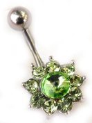 Green Crystal Flower with Crystal Belly Bar - 316 Stainless Steel - Surgical Steel - Cubic Zirconia Crystal