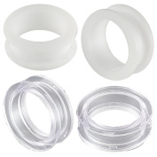 2 Pairs of 26mm Acrylic screw flesh tunnel plugs Ear ring stretchers Expanders JANQ Body Piercing Jewellery