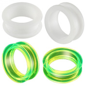 2 Pairs of 26mm Acrylic screw flesh tunnel plugs Ear ring stretchers Expanders JAMY Body Piercing Jewellery