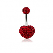 Red Heart with 6MM Ball Multi Preciosa Crystal Stone with 14Gx3/8 Surgical Steel Banana Belly Jewellery
