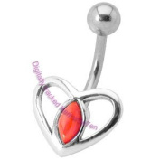 Silver Heart Belly Bar - Red Coral