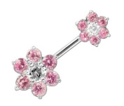 Navel Double Flower Pink Silver 925 - Size 10mm