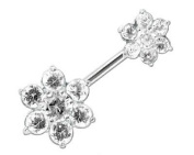 Navel Double Flower White Silver 925 - Size 10mm