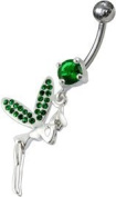Mbody:Sterling Silver and CZ Set Fairy Dangly Belly / Banana Bar, with TITANIUM Bar and 5mm Threaded Bead, 1.6mm x 10mm / Emerald Green CZ