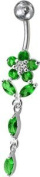 Mbody:Sterling Silver and CZ Set Flower Dangly Belly / Banana Bar, with Titanium Bar and 5mm Threaded Bead, 1.6mm x 10mm / Emerald CZ