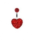 Belly Bar 15mm Red Heart and 6mm Red Ball with. Elements Bar Lenght 10mm