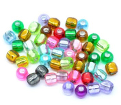 100 X Mixed Acrylic Foil Pony Beads 7 X 7 mm