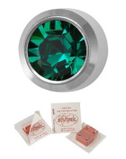 Studex Ear Piercing Mini Silver Coloured Stainless Steel Birthstone Stud Earrings 2mm Bezel Setting - May / Emerald