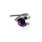 Quality UK Sterling Silver & Crystal 3mm Heart Nose Stud