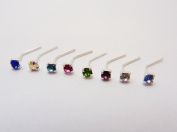 5*JEWELLERRY SET OF 8 DIFFERENT COLOUR CZ JEWEL STERLING SILVER NOSE STUDS
