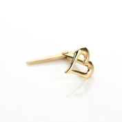 9ct Yellow Gold Andralok Pierced Heart Nose Stud Pin