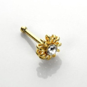 9ct Gold Coiled Crystal Cubic Zirconia CZ Nose Stud Pin - Ball End