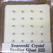 Pack Of 20 Sterling Silver Claw Set Nose Wires Nose Studs 2mm Swarowsky Crystal, Clear Colour