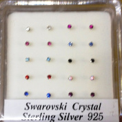 Pack Of 20 Sterling Silver Claw Set Nose Wires Nose Studs 2mm Swarowsky Crystal Assorted Colours