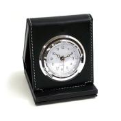 Bey-Berk Black Leather Alarm Clock