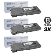 LD © Compatible Dell 331-8429 / W8D60 Set of 3 Black Laser Toner Cartridges for use in Dell C3760DN, C3760N, & C3765NF Printers