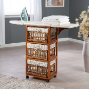 Wood Wicker Ironing Board Centre with Baskets