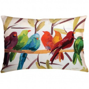 60cm Outdoor Deck and Patio Flocked Together Bird Rectangular Throw Pillow