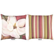 50cm Reversible Outdoor Deck and Patio Steel Magnolia Floral Stripe Throw Pillow