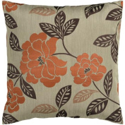 46cm Orange and Chocolate Brown Romantic Floral Decorative Throw Pillow