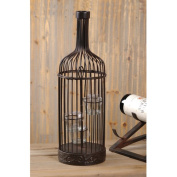 Wilco Wine Bottle Corkholder with T-lite Holder Insert, Brown