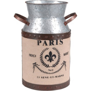 Wilco Large Galvanised Metal Milk Can Decor, Grey, Brown and Creme