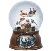 17cm Musical Rotating Santa Claus with Train Christmas Snow Globe Glitterdome