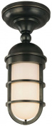Hudson Valley Lighting Groton 1-Light Semi Flush - Old Bronze Finish with Opal Glossy Glass Shade