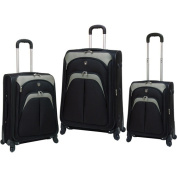 Travellers Club 3-Piece Expandable 4 Wheel Spinner Luggage Set