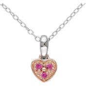 Cutie Pie 0.05 Carat T.G.W. Created Pink Sapphire Sterling Silver Girls' Heart Pendant, 46cm