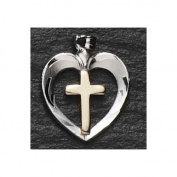 46cm Sterling Silver Heart with Gold Cross Religious Pendant Necklace