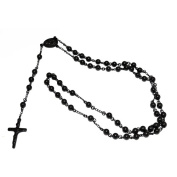 Women's Black Steel Rosary Necklace, 90cm
